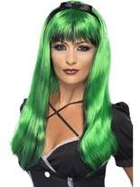 Vert et noir envoûtant perruque Halloween Perruque