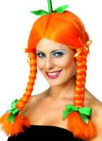 Perruque citrouille avec tresses et rubans vert Orange Halloween Perruque