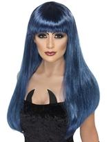 Perruque de sorcière Glamour noir et bleu Halloween Perruque
