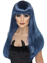 Halloween Perruque Perruque de sorcière Glamour noir et bleu