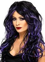 Superbe perruque fiancée gothique noir et violet Halloween Perruque