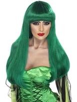 Perruque de sorcière Glamour vert Halloween Perruque