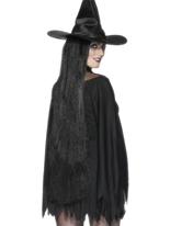 Perruque de sorcière noire longue de 36 pouces Halloween Perruque