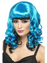 Tainted jardin bleu et noir perruque Halloween Perruque