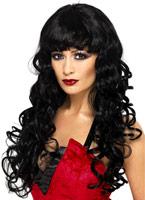 Perruque de sirène longue noir Halloween Perruque