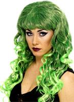 Perruque de sirène vert noir Halloween Perruque