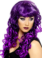 Perruque de sirène noir violet Halloween Perruque