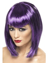 Vamp perruque Purple courte avec frange Halloween Perruque