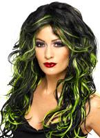 Superbe perruque fiancée gothique noir et vert Halloween Perruque