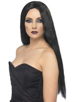 Perruque de sorcière noire Halloween Perruque