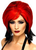 Vampiress perruque rouge et noir Halloween Perruque