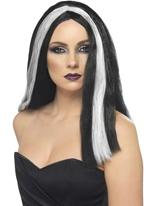 Perruque de sorcière Vampira noir Halloween Perruque