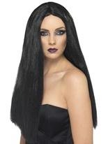Perruque de sorcière noir Halloween Perruque