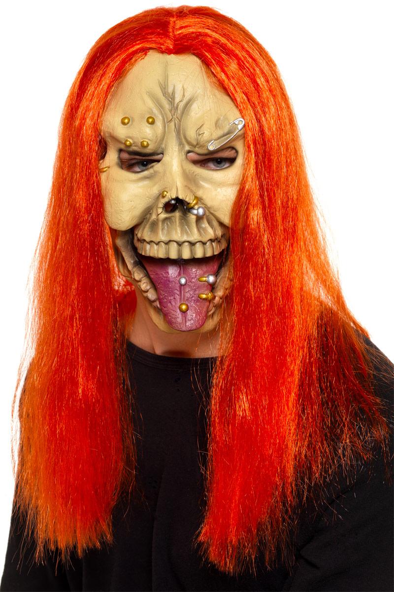 Masque Halloween Masque Skull punk avec des cheveux de néon