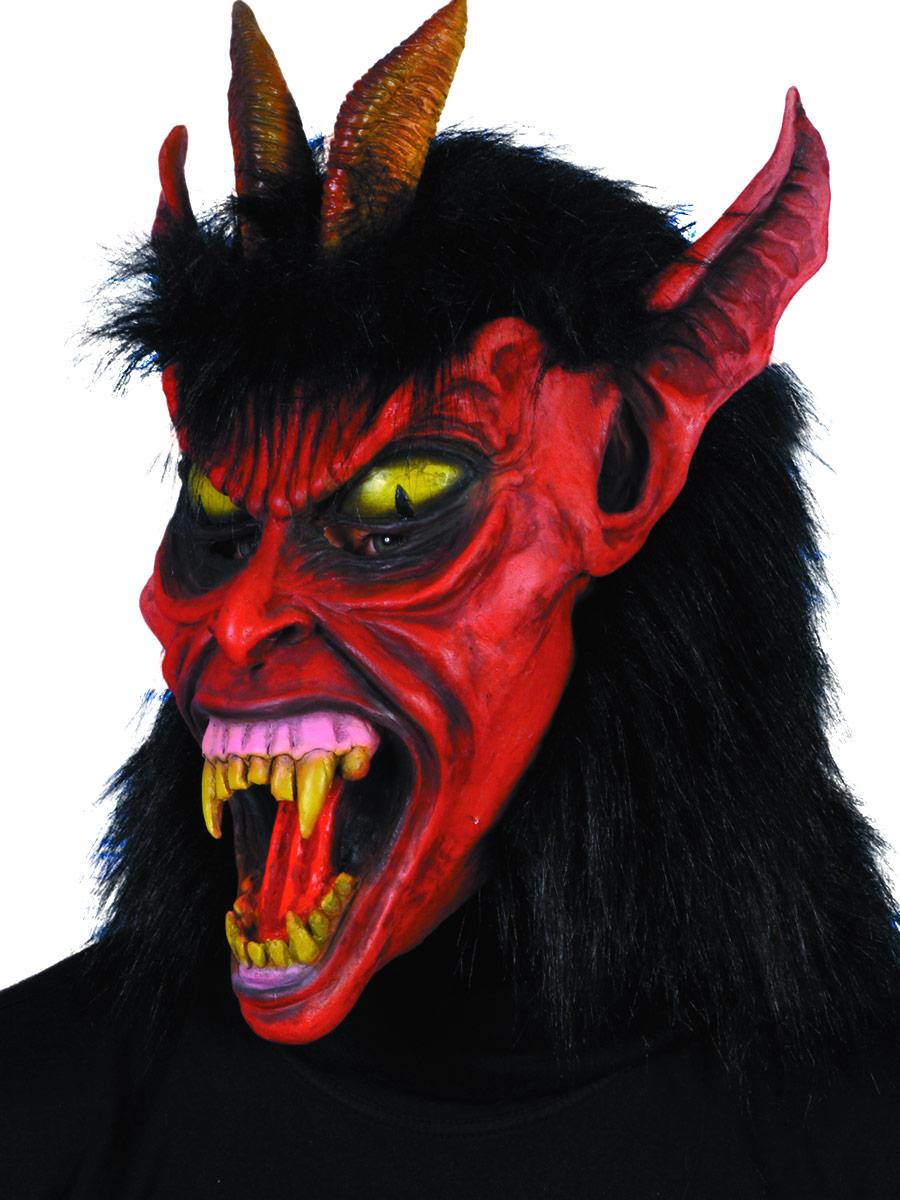 Masque Halloween Belzébuth masque rouge en caoutchouc noir fourrure