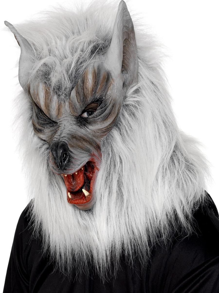 Masque Halloween Wolf généraux masque argent caoutchouc fourrure