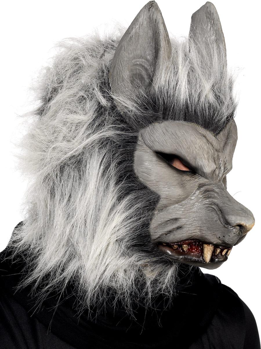 Masque Halloween Masque de loup garou en argent en caoutchouc
