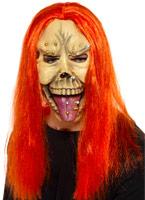 Masque Skull punk avec des cheveux de néon Masque Halloween