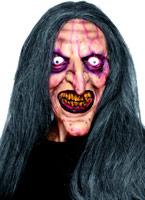 Masque de sorcière avec des cheveux en caoutchouc de vieillissement Masque Halloween