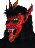 Belzébuth masque rouge en caoutchouc noir fourrure Masque Halloween