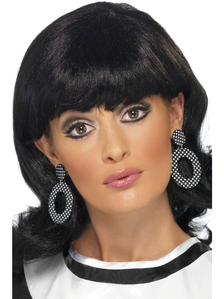 Accessoires Hippie Mod Girl noir et blanc boucles d'oreilles