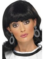Mod Girl noir et blanc boucles d'oreilles Accessoires Hippie