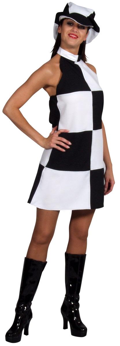 Déguisement Hippie Femme 60 ' s Black & blanc vérifier la robe & Cap