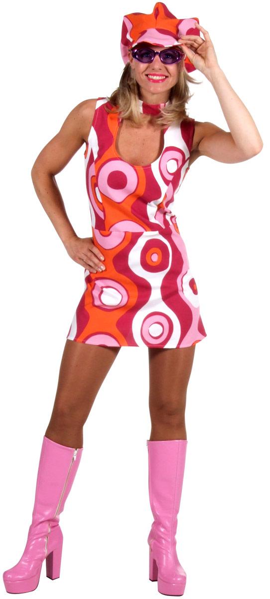 Déguisement Hippie Femme 60 ' s Circle Design robe & chapeau