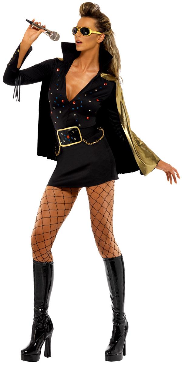 Déguisement Hippie Femme Elvis Viva Las Vegas noir Costume
