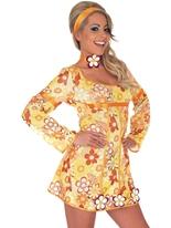 Costume Robe Hippie jaune Déguisement Hippie Femme