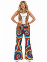 Mesdames Hippie Tye Dye fusées éclairantes Déguisement Hippie Femme