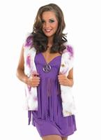 Costume Hippie violet avec gilet Déguisement Hippie Femme