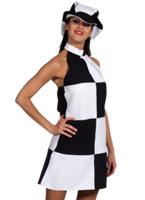 60 ' s Black & blanc vérifier la robe & Cap Déguisement Hippie Femme