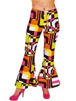 60 ' s Ladies évasés pantalon Design rétro Déguisement Hippie Femme