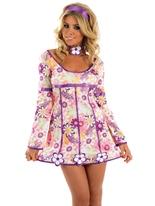 Costume Hippie rose Déguisement Hippie Femme