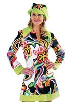 60 ' s Design liquide robe GoGo & chapeau Déguisement Hippie Femme