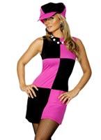 Costume de balancer 60 Pink Black Déguisement Hippie Femme