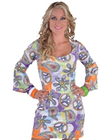 Costume Robe Mini Cool Deluxe 60 ' s Déguisement Hippie Femme