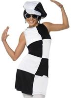 années 60 noir et blanc Costume Party Déguisement Hippie Femme
