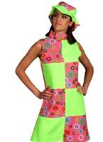 60 s Hippy lambrissé Floral robe de green Déguisement Hippie Femme
