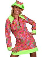 Robe hippie Floral rose des années 60 Déguisement Hippie Femme