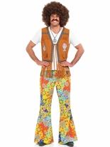 Mens 60 ' s psychédélique Floral pantalon Déguisement Hippie Homme