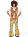 Déguisement Hippie Homme Mens 60 ' s psychédélique Floral pantalon