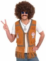 Hippie des années 60 Mens bordées de gilet Déguisement Hippie Homme