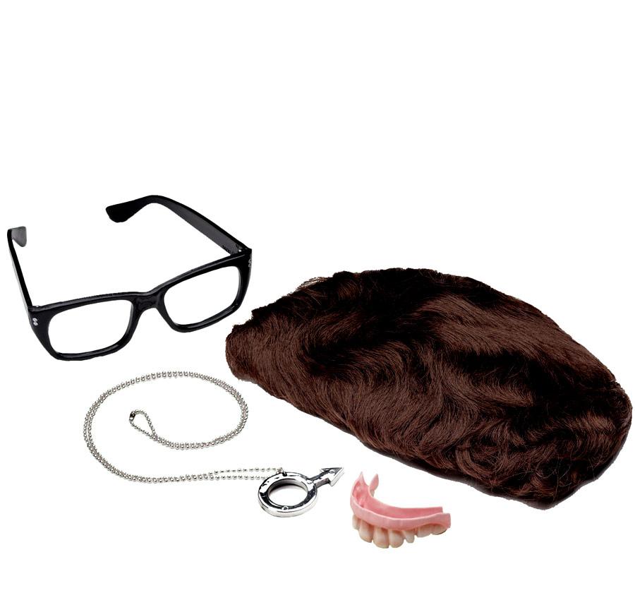 Perruque Hippie Kit d'accessoires de luxe de Austin Powers