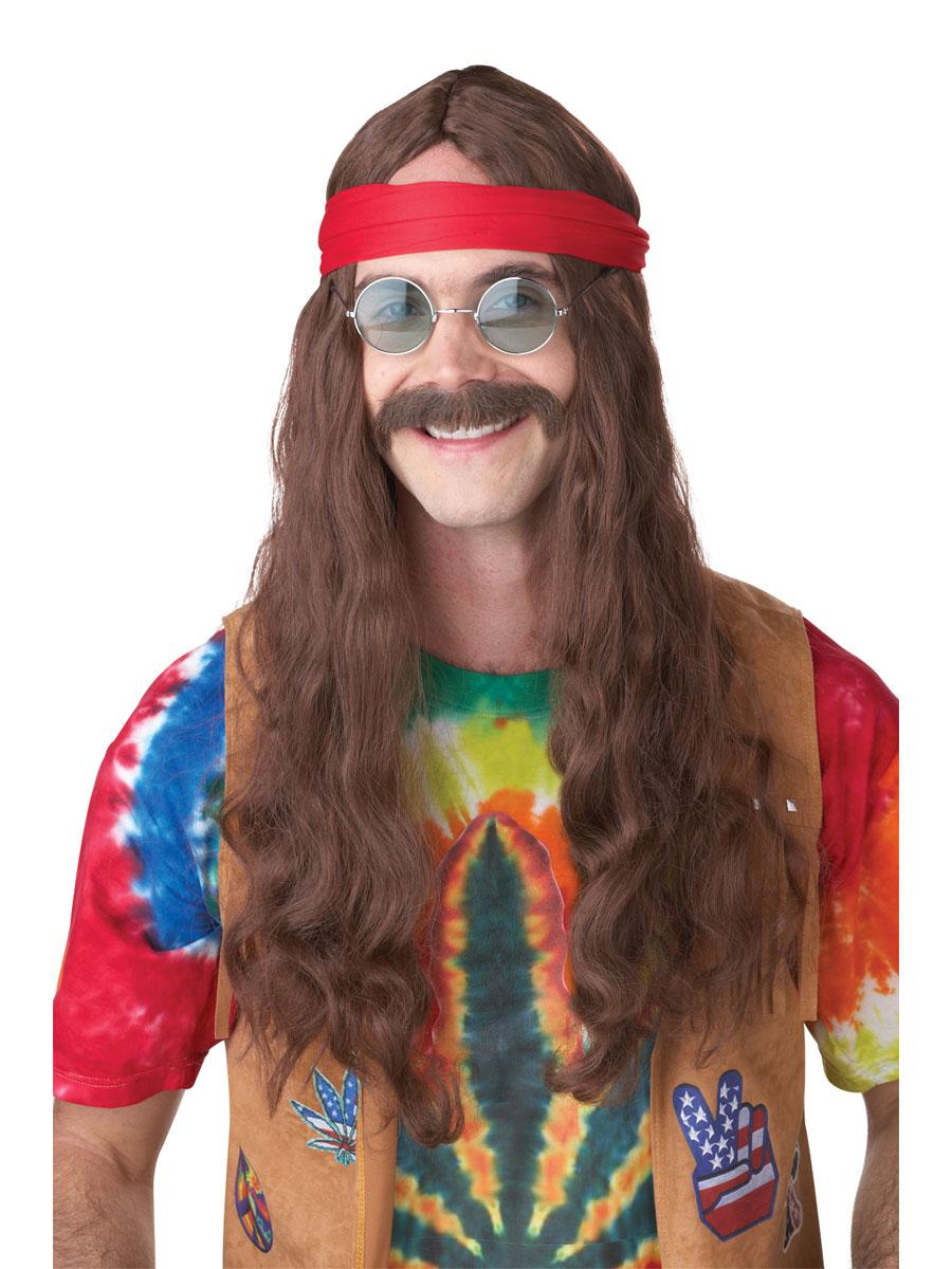 Perruque Hippie Moustache et hippie homme perruque