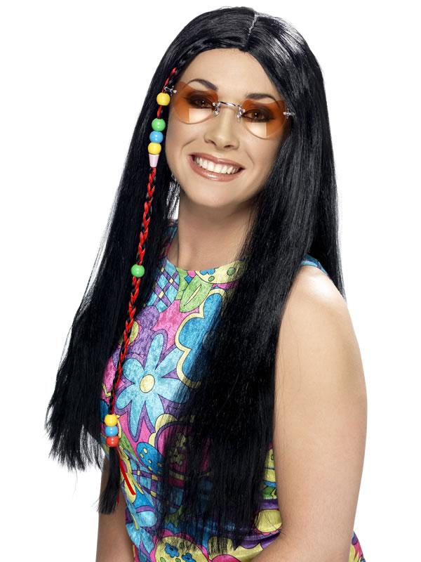 Perruque Hippie Hippy parti perruque longue noir