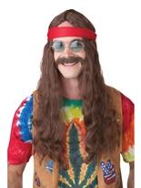 Moustache et hippie homme perruque Perruque Hippie