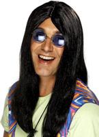 Perruque longue ligne droite de Neil noir Perruque Hippie