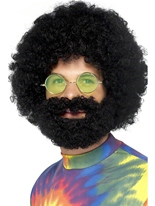 Barbe et perruque Afro groovy Dude Perruque Hippie